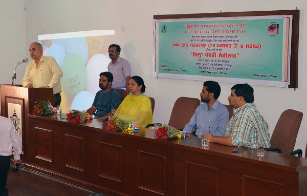 Chief Guest Dr. Rajeev Bhalla, Civil Surgeon, Patiala addressing the audience during seminar.