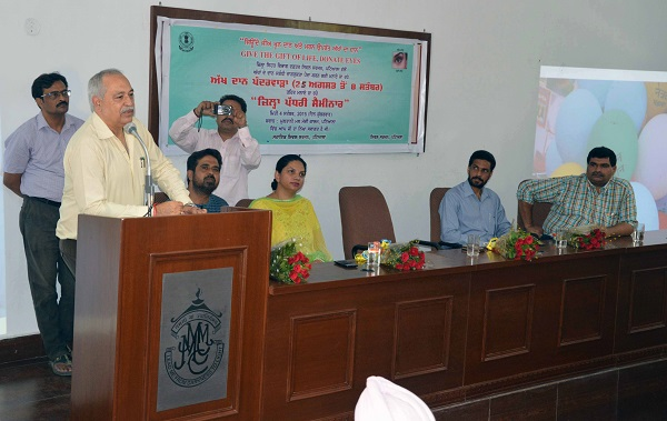 Chief Guest Dr. Rajeev Bhalla, Civil Surgeon, Patiala inaugurating the seminar.