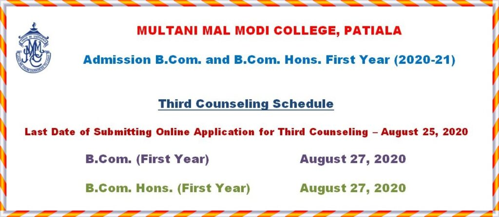 Third Counselling Schedule