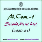 2nd Merit List of M.Com.-I (2020-2021)