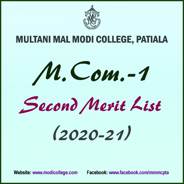 2nd Merit List MCom1