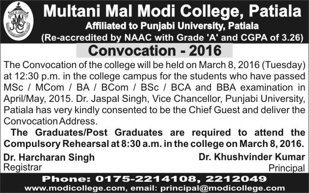 Convocation 2016 Notice