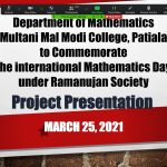 Online 'PROJECT PRESENTATION' organised to commemorate 'The International Mathematics Day'